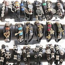 Wholesale Lots 36pcs Mixed lots Genuine Leather Bracelet Cuff Punk Tribal Ethnic