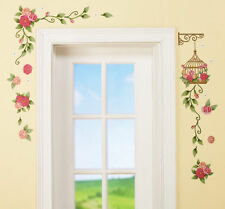 Flower Bouquet & Hanging Birdcage Removable Wall Decals Spring Garden Wall Decor