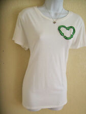 Womens White Old Navy Recycling Recycle Green Arrow Heart Size Large 12 14 LONG