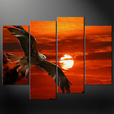 SUNSET EAGLE ORANGE SPLIT CANVAS WALL ART PICTURES PRINTS LARGER SIZES AVAILABLE