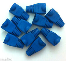 PACK OF 10 BLUE RJ45 SNAGLESS NETWORK CABLE PLUG HOODS BOOTS CAT5e CAT6