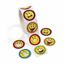 Goofy Smile Face Roll of Stickers 100 Sticker Per Roll