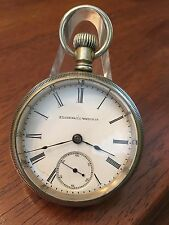 1887 ELGIN 11j Model 5 Pocket Watch 18s Runs Strong Alaska Metal Case