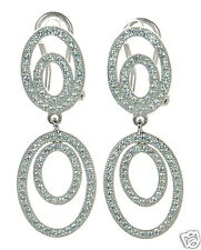 Solid 925 Sterling Silver Lab Simulated Diamond Double Drop Earrings '