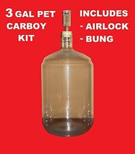 PET CARBOY KIT 3 GAL w/AIRLOCK & BUNG FOR SECONDARY FERMENTATION  OF BEER & WINE