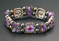 Purple Flower Crystals Magnetic Bracelet Hematite Bead Therapy Free Shipping