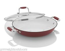 Fagor Michelle B.12-Inch Cast Iron Lite Chef's Pan with Glass Lid, Red 670041330