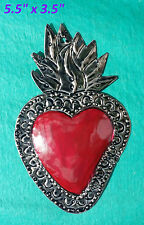 Wall Art Mexican Handmade Painted Tin Ornament Heart Milagro Red 3 for $19