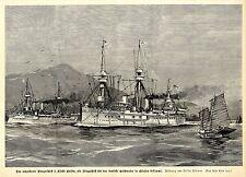 Flaggschiff für das deutsche Geschwader in Osasien (Willy Stöwer) Graphik 1895