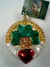"Old World Christmas Celtic ""Claddagh"" Irish Ornament-GLASS Lucky Clover Heart"