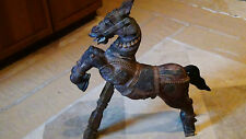 ANTIQUE 18c ASIAN,CHINESE WOOD HAND CARVED PAINTED LARGE HORSE STATUE