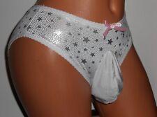 WHITE & SILVER SHINY METALLIC STARS  BIKINI Sissy POUCH Panties MEN 25-35 S