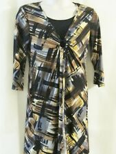 MONROE & MAIN Black Brown Gray & Gold Stretch Knit Dress with Insert Size 12 EUC