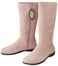 New Dexter Manor Ladies Pink Suede Kidskin Knee High Tall Boots Size 7.5 M