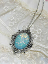 #JRJ61816 WEDDING PARTY AQUA BLUE fire opal victorian PENDANT MOONSTONE Necklace
