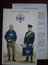 POSTCARD 1ST THE QUEEN'S DRAGOON GUARDS BADGE - TROOPER TRAINING DRESS - TRUMPET