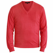 GUCCI $595 slim fitted pink cotton and silk knit jumper v-neck sweater 52/L NEW