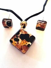 AMBER  GOLD AUTHENTIC VENETIAN MURANO GLASS NECKLACE EARRINGS JEWELRY SET 1MG
