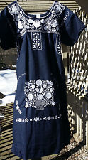 Puebla Dress Mexican Embroidered Flowers Floral Oaxacan Large L Navy Blue Azul