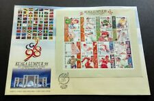 1998 Malaysia XVI Commonwealth Games 16v Mint Stamps Sheetlet FDC (Melaka Chop)