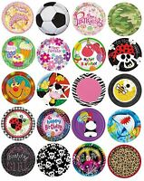 """8 x 7"""" PAPER PLATES (18cm) Range of DESIGNS THEMES (Birthday Party Supplies)"""