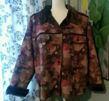 Denim & Co. Brown Floral Fur-lined Heavy Jacket, Size 1X, Washable, Side Pockets