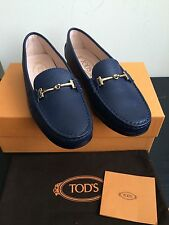 NIB $625 Tod's City Gommini Leather Drivers Navy Loafers Size 7