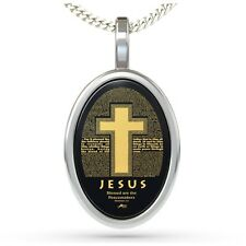 Christian Silver Cross Colossians Inscriptions Necklace 24K Gold Inscribed Onyx