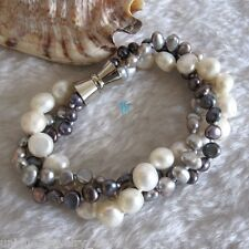 "8"" 4-9mm White Gray Peacock Baroque 3Row Freshwater Pearl Bracelet"