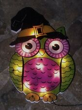 HALLOWEEN FALL WINTER LIGHTED HOOT OWL FIGURE PILGRIM WINDOW LIGHT DECORATION