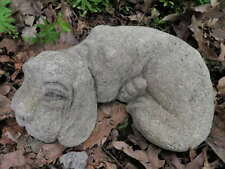 "Vintage Cement 10.5"" Lying Hound Dog Garden Art Statue Weathered Pitted Concrete"