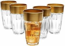 Circleware De'ore High Class, Glass Drinking Glasses Set with Gold Rim, 12 Ounce