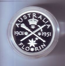 1998 SILVER Proof 20 Cent of 1951 Florin Coin Australia ex Masterpieces Set ***
