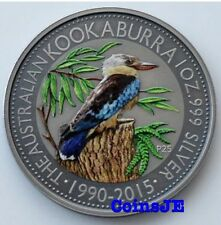 Australia Kookaburra 2015 1oz .999 acabado antiguo color plata moneda