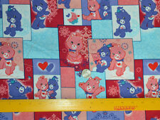 "CARE BEARS On Squares Pattern 1/2 YARD Cotton Fabric Licensed 18"" X 44"""