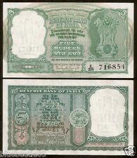 ★★★  5 Rupees P.C Bhattacharya 'B' Inset ~ 3 Deers ~ UNC ~ C-7 ★★★ bb85