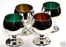 Set 4 Gorham Sterling #955 Gold Orange Green Enameled Cordial Cups Shot Glasses