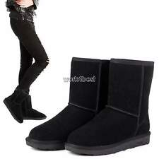 Fashion Women's Winter Warm Fleece Suede Ankle Mid Calf Boots Shoes Snow Boots