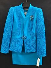 LILY&TAYLOR SKIRT SUIT/NEW WITH TAG/RETAIL$249/TANK INCLUDED/SIZE 22/TURQUIOSE