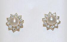 14K Yellow Gold AAA WHITE Cultured Pearl Stud Earrings Screw Backs 8mm Screwback