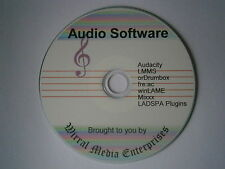 Music/Audio Record,create,mix,edit.CD of audio software 7 programs inc Audacity