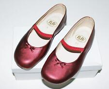 PEPE Girls Italian Leather Ballet Flats Shoes Metallic Red ~ 32 Euro 1 US NIB nb