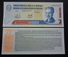 ARGENTINA EMERGENCY BANKNOTE 2 Pesos,  UNC  2001 (La Rioja)