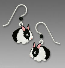 Sienna Sky Black & White BUNNY EARRINGS STERLING Silver Easter Rabbit - Gift Box