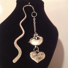 Special nan bird book mark silver plated