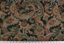 Drapery Upholstery Fabric Jacquard Floral Brown, Green, Burgundy, Blue on Black