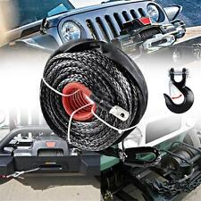 "Car Durable 12000 LBs Synthetic Winch Rope Recovery Cable 25m/82"" + Steel Hook"