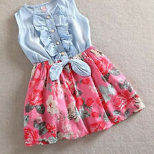 Baby Girls Kids Flower Dress Denim Vest Ruffled Party Skirt Toddler Clothes 2-8Y