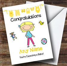Single Blonde Mum To Be Expecting A Baby Personalised Pregnancy Greetings Card