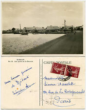 DJIBOUTI PPC CUSTOMS QUAY REAL PHOTO 1937 POSTMARK SOMALIA to FRANCE SOWERS